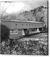 West Cornwall Connecticut Covered Bridge Black And White Canvas Print