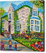 Westmount Birthday Party-montreal Urban Scene-little Girls Playing Canvas Print