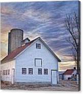 White Barn Sunrise Canvas Print