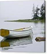 White Boat On A Misty Morning Canvas Print