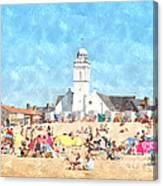 White Church At The Sea Canvas Print