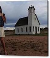 White Church And Model Canvas Print