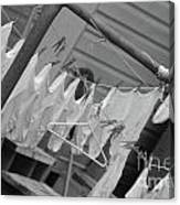 White  Cotton Laundry Blowing In The Wind Canvas Print