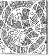 White Doodle Circles Canvas Print