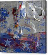 White Elephant Ride Abstract Canvas Print
