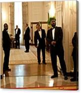 White House Butlers Watch As President Canvas Print