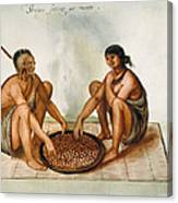 White: Native Americans Eating Canvas Print