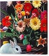 White Rabbit By Basket Of Flowers Canvas Print