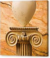 White Stone Heart On Pedestal Canvas Print