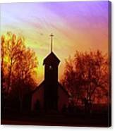 White Swan Church In The Sunset Canvas Print