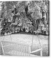 White Swing Black And White Canvas Print