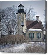 Whitehall Lighthouse In Winter Canvas Print