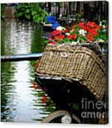 Wicker Bike Basket With Flowers Canvas Print
