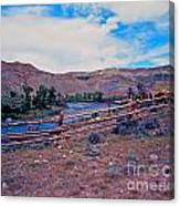 Wind River And Horses Canvas Print