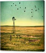 Windmill And Birds Canvas Print