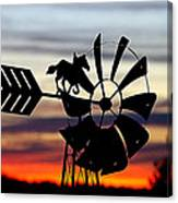 Windmill At Sunset Canvas Print