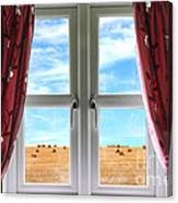 Window And Curtains With View Of Crops  Canvas Print