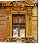 Window And Pediment In Ljubljana Slovenia Canvas Print