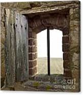Window Of A Derelict House Overlooking Field Canvas Print