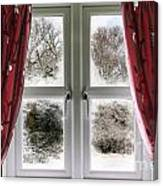 Window View To A Snow Scene Canvas Print