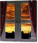 Window With Fiery Sky Canvas Print