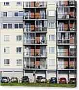 Windows  Balconies  Cars And Lawn  Of A Multiroom Apartment Hous Canvas Print