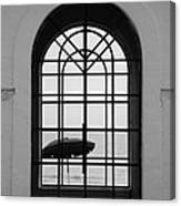 Windows On The Beach In Black And White Canvas Print