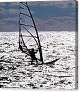 windsurfer rides the water at West Dennis Beach on Cape Cod Canvas Print