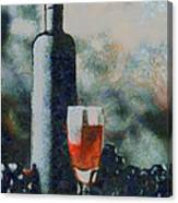 Wine Bottle And Glass Canvas Print