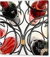 Wine Bottles In Curved Wine Rack Canvas Print