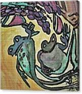 Wine Frogs Blended Not Stirred Canvas Print