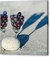Wine Glass With Grapes Canvas Print