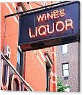 Wines And Spirits Sign Canvas Print