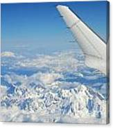 Wings Of Flying Airplane Over French Alps Canvas Print