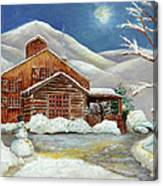 Winter At The Cabin Canvas Print