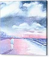 Winter Beach Walk Canvas Print