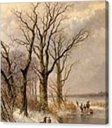 Winter Landscape With Faggot Gatherers Conversing On A Frozen Lake Canvas Print