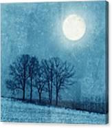 Winter Moon Over Farm Field Canvas Print