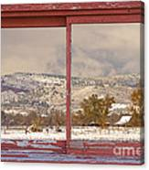 Winter Rocky Mountain Foothills Red Barn Picture Window Frame Ph Canvas Print