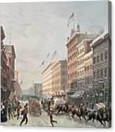 Winter Scene On Broadway Canvas Print