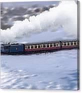 Winter Steam Train Canvas Print