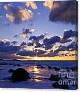 Winter Sunset On Lake Michigan - Fm000053 Canvas Print