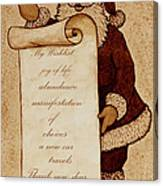Wishlist For Santa Claus  Canvas Print