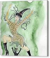 Witches Dance With Cats On Halloween Canvas Print