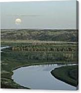 With A Full Moon Rising, The Meandering Canvas Print
