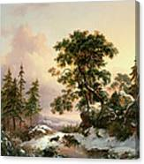 Wolves In A Winter Landscape Canvas Print