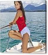 Woman Boating At Kaneohe Canvas Print