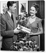 Woman Giving Gift To Man, (b&w) Canvas Print