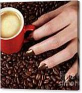 Woman Hand Holding A Cup Of Latte Canvas Print
