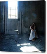 Woman Hiding In Abandoned Room Canvas Print